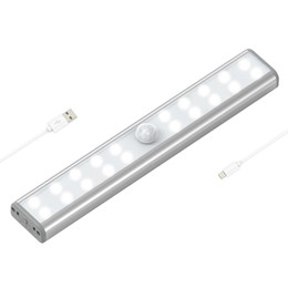 Wholesale Rechargeable Led Light Strips - USB Motion Sensor Closet Lights 20 LED Under-Cabinet USB Rechargeable Stick-on Stairs Step Light Bar LED Night Light with Magnetic Strip