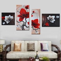 óleo, pinturas, lona, orquídeas Desconto Noah Art Modular Pictures Pintados À Mão Abstrata Pinturas A Óleo sobre Tela Orquídeas Vermelhas Flores Pintura para Sala de estar Decoração Y18102209