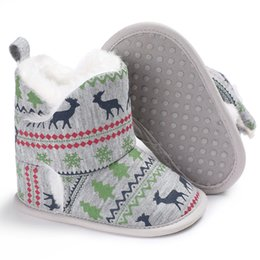 Wholesale Christmas Baby Boots Shoes - Baby Shoes 2017 Winter Warm Boys First Walkers Snow Boots Girls Toddler Shoes Infant Warm Christmas First Walkers