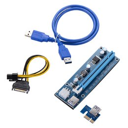 Wholesale Graphics Card Wholesalers - For Bitcoin Miner Riser PCI-E PCI-E Express 1X to 16X Graphics Card Riser USB 3.0 SATA to Power Supply