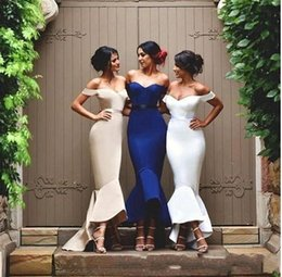 Wholesale Mermaid High Low Prom Dresses - Cheap Mermaid Bridesmaid Dresses 2018 Off the Shoulder High Low Satin Prom Gowns Custom Made Hi-Lo Beach Bridesmaid Gowns