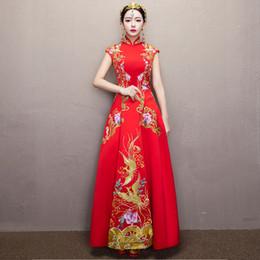 752f423a1 Tamaño XXXL novia boda cheongsam estilo chino Vestido de noche de bordado  ropa Phoenix Qipao traje Vestido Rojo S M L XL XXL rebajas estilo chino  cheongsam ...