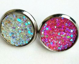 Wholesale Woman Stainless Steel Earings - Dayoff 10Pairs crystal Druzy Earings For Women Jewelry