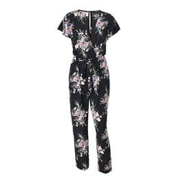 f5e654f8279 Vintage Floral Print Boho Jumpsuit Romper V Neck Short Sleeve Casual  Jumpsuit Loose Sash Summer Jumpsuit Women Overalls. Supplier  kaseller