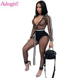 2019 tuta bianca piena delle donne Adogirl Fishnet Side Stripe Tuta con cappuccio con cintura Zipper Up manica lunga Sexy Sheer Club Pagliaccetti Tuta donna Tute