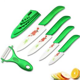 """Peinture vert clair en Ligne-Beauté Cadeaux Zirconia green light cuisine Ensemble de couteaux à fruits en céramique 3 """"4"""" 5 """"6"""" pouces avec fleur peinte + éplucheur + housses"""