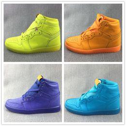 Wholesale Grape Boxes - New Arrival Mens 1 Gatorade Retro Basketball Shoes Lemon Lime Coll Blue Grape Orange High Sneakers Sport Shoe Top Quality with original box