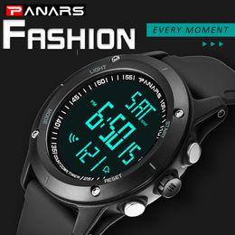 Cuenta atrás online-PANARS Diving Water Resistant Watches Men 12/24 Hour Climbing Countdown Timer Reloj Digital LED Back Light Reloj Hombre 8014