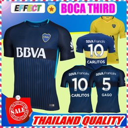 Wholesale Boys Football Jersey Xl - Thai Quality 2017 2018 Boca Juniors Third Soccer Jerseys 17 18 GAGO OSVALDO CARLITOS HOME Blue AWAY Yellow Argentina Club Football shirts