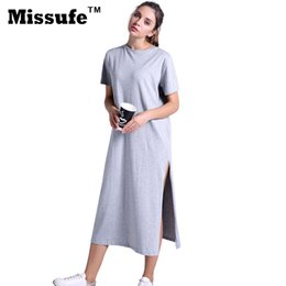 c494e91e8b6 Missufe Casual Loose T-shirt Dress 2017 Summer Style Plus Size Women  Clothing High Split Straight Midi Tunic Sarafan Beach Robe