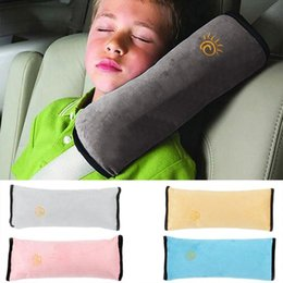 Wholesale car seat cushion for kids - Baby Pillow Pad Car Auto Safety Seat Shoulder Belt Harness Protector Anti Roll Pad Sleep Pillow For Kids Toddler Pillow Cushion