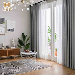 stringa di paglia all'ingrosso Sconti 2018 Nuovo arrivo Grigio tende per camera da letto Ufficio Custom Made Size tende di lino solido solido per soggiorno in stile europeo