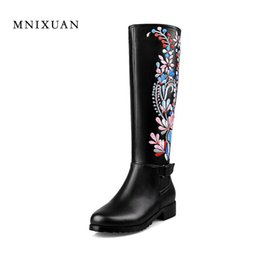 Wholesale Chinese Wedges Shoes - Handmade chinese embroidery shoe women knee high boots medium square heel genuine leather ethnic boots big plus size 40 41 42 43