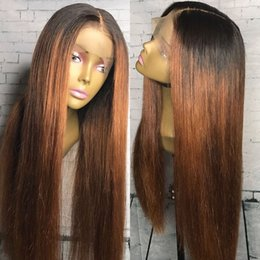 Wholesale Lace Wigs Virgin Straight - lace front wigs Ombre human hair 150 density glueless two tone color 1b 30 full lace wig for black women