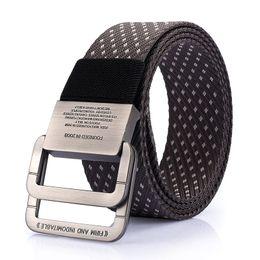 Wholesale Tactical Belt Buckles Wholesale - Military Equipment Tactical Belt Mens Double Ring Buckle Thicken Canvas Belts for Men Waistband brand Designer luxury weaving belt student