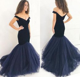navy blue occasion dresses women Promo Codes - Simple Dark Navy Blue Long Evening Dresses Off Shoulder Velvet Mermaid Evening Gowns Floor Length Special Occasion Women Party Dresses 2018
