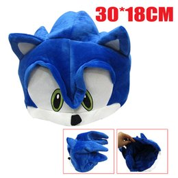Wholesale Plush Costumes For Adults - Free Shipping Sonic The Hedgehog Fleece Plush Hat Cosplay Costumes Blue Toys Brinquedos for Adult Teenager Gifts