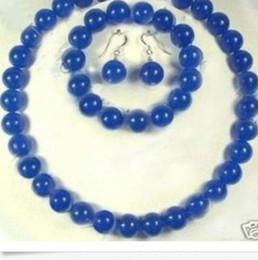 Colar de pulseira de safira azul on-line-Detalhes sobre 10mm azul sapphire rodada colar pulseira brinco set