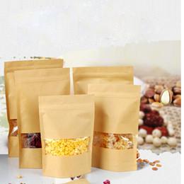Pacotes de janelas on-line-9 Tamanho Alimentos à prova de Umidade-Sacos Snack Cookie Bag Ziplock Saco de Embalagem Saco De Papel Kraft com Janela Clara para Alimentos Secos Porcas Embalagem de Doces