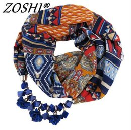 Wholesale choker scarf necklace - New Design Chiffon Acrylic Flower Pendant Beads Scarf Necklace Women Ethnic Head Scarves Collar Choker Statement Necklaces Gift