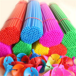 plastic balloons stick Promo Codes - High Quality Plastic Support Rod Latex Balloon Cup Sticks Holder Advertising Balloons New Material Festival Supplies 0 08hy ii