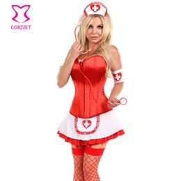krankenschwestern einheitlich weiß Rabatt Rot / Weiß Frech Sexy Krankenschwester Kostüm Plus Size Frau Erwachsene Kostüme Karneval Halloween Cosplay Uniform Ärzte Kostüm 2016 C18111601