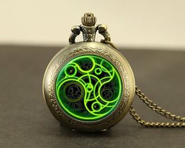 Wholesale Vintage Silver Pocket Watch Chain - whole saleSteampunk UK drama doctor dr who tardis time vintage new Necklace bronze silver Pendant jewelry pocket watch chain mensHZ1