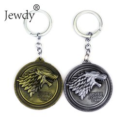 Wholesale Vintage Antique Cars - Game Of Thrones wolf keychain Winter Is Coming Stark Wolf Head Key Chains vintage key rings holder for fans fashion jewelry