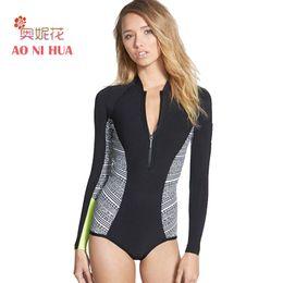 Wholesale Sleeveless One Piece Bathing Suit - AONIHUA 2018 New Sport One Piece Swimsuit Bodysuit Women Push up sleeveless Surfing Swimwear female Front zipper Bathing Suit