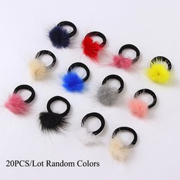 Wholesale Black Ponytail Hair Ties - 20PCS Lot New Colorful Mink hair Black Elastic Hair Bands Girls Tie Ponytail Holder Ropes Kids Headbands Accessories