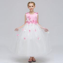 Wholesale Children Dance Images - European girls dress color nail bead petal princess skirt child beauty dance dress performance dress New style