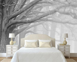Wholesale Black White Tree Art - Beibehang 3D wallpaper living room bedroom murals modern black and white forest tree art TV wall murals wallpaper for walls 3 d