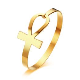 Argentina Elegante diseño de la pulsera de las señoras de acero inoxidable Ankh Cross en dorado, brazalete de puño, brazaletes con estilo, brazaletes de joyería Suministro