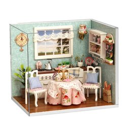 Wholesale Girls Wooden Toys - DIY Wooden Doll House Toys Dollhouse Miniature Box Kit With Cover And LED Furnitures Handcraft Miniature Dollhouse Kitchen Model