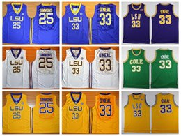 Wholesale High Dry - Top Quality LSU Tigers 25 Ben Simmons Jersey Men 33 Shaquille O'Neal College Basketball Jerseys University Shirt Robert G. Cole High School