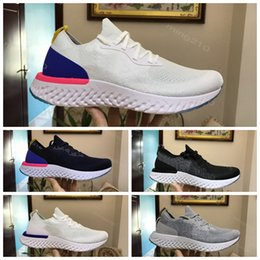 Wholesale Lace Tops Designs - 2018 Top Sale Epic React Foam Running Shoes Fly Knitting Upper Vamp Sport Mens Women Running Shoes Design Cushioning Athletic Sneakers