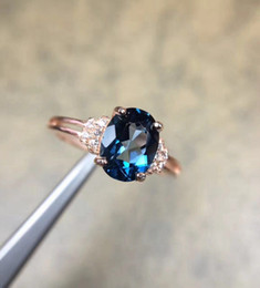 2019 bijoux en diamant bleu Naturel Topaze Bleue Gemme S925 En Argent Sterling Rose Glod Bague Diamant Femmes Beaux Bijoux S18101002 promotion bijoux en diamant bleu