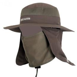 Cappellini bruni online-Unisex Fisherman Mesh Bucket Hat Men Wide Brim Round Camping Cappelli da sole Donna Escursioni Neck Cap Flap Protezione zanzare