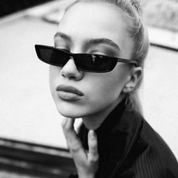 Wholesale Small Square Sunglasses - Vintage Rectangle fashion Sunglasses Women Brand Designer Small Frame Sun Glasses Retro Black Eyewear free shipping