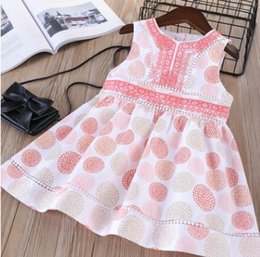 Wholesale Dress Summer Lace Breast - 2018 Spring girls colorful polka dots vest dress kids floral embroidery princess dress children lace hollow back single breasted dress R2524