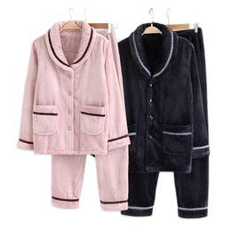 Fashion Winter thicken flannel pajamas sets women Warm couple sleepwear  simple soft elegance male long-sleeve warmth pajamas men 33e97daef