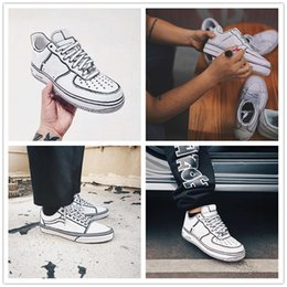 Wholesale Paint Shoes Black - 2018 Designer Joshua Vides x Storm OLD SKOOL Lunar Airs Low I Hand Painted Running Shoes for Women Mens Outdoor Casual Sneakers EUR 36-44