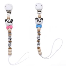 Wholesale wooden shaped beads - New Baby Pacifier Clip Pacifier Chain Panda Shape Hand Made Cute Colourful Beads Dummy Clip Baby Soother Holder For Kid