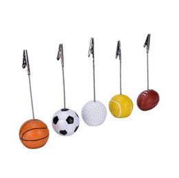 Wholesale Wiring Clips - Sport Ball Photo Clip Alligator Wire Card Memo Photo Clip Holder Table Place Card Holder Event Party Favor 300pcs OOA3856