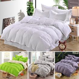 Wholesale Silk Quilt Comforter - Wholesale-New Plain Duvet Cover Quilt Cover Bed Single Double & King Size Comforter bedding Bedding Full Size