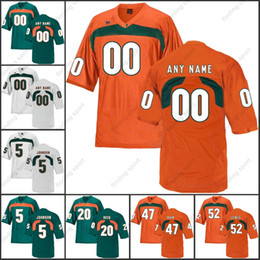 Custom NCAA Miami Hurricanes College Football jerseys any name number Ed  Reed Sean Taylor Michael Irivin 5 Andre Johnson Ray Lewis e63bf8b64