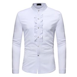 4657224c6caf England Casual Shirt Men Wedding Style Blouse Harajuku Clothing Tops  Novelty Flowers Decor Elegant Shirts Male Night Club Blusa