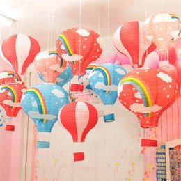 Wholesale craft lantern decoration - Wholesale-6Pcs lot 12 inch Hot Air Balloon Paper Lantern for Wedding Party Birthday Decorations Kids Gift Craft