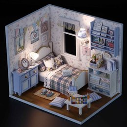 Wholesale 3d Miniature Puzzle - Sunshine Overflowing 3D DIY Wooden Doll House Handmade Mini Puzzle Miniature Furniture Toy Dollhouse Educational Toys Gift
