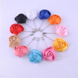 Wholesale wedding corsage man - Wedding Boutonniere Floral Stain Silk Rose Flower 16 Color Available Groom Groomsman Man Pin Brooch Corsage Suit Deco